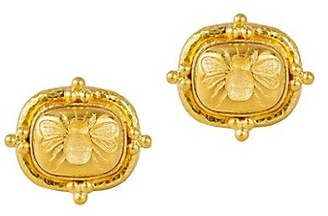 Elizabeth Locke Gold 19K Yellow Gold Fat Bee Medium Cushion Earrings