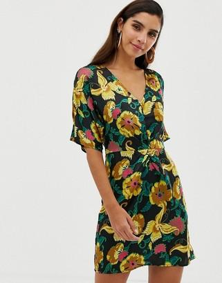 Liquorish floral twist front mini dress