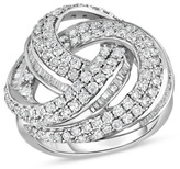 Zales 2 CT. T.W. Baguette and Round Diamond Open Swirl Ring in Sterling Silver