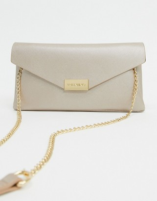Valentino by Mario Valentino Arpie foldover clutch bag with chain handle in gold