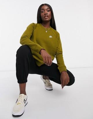 Nike Essentials crew-neck sweatshirt in khaki green
