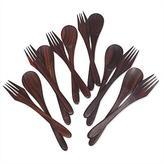 Hand Carved Natural Wood Forks and Spoons (set for 6), 'Velvet Taste'