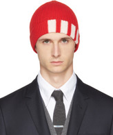 Thom Browne Red Rib Cashmere Four Bar Beanie
