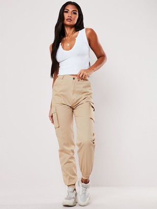 Missguided Plain Cargo Trousers - Sand