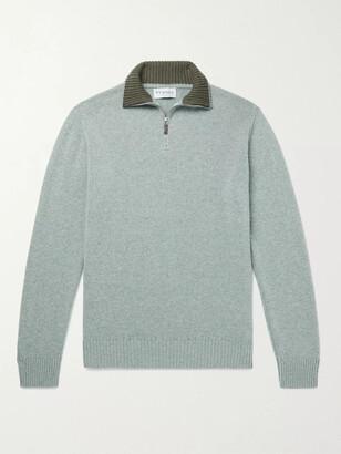 JAMES PURDEY & SONS Slim-Fit Melange Cashmere Half-Zip Sweater - Men - Green