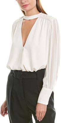 BCBGMAXAZRIA Wrap Silk-Trim Bodysuit