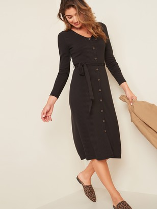 Old Navy Waist-Defined Rib-Knit Tie-Belt Midi Dress for Women