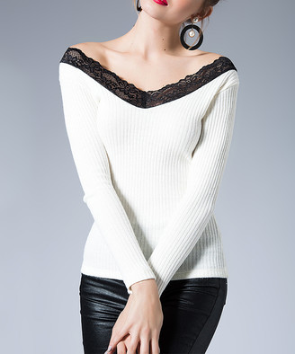 Milan Kiss Women's Blouses ECRU - Ecru Lace-Accent V-Neck Top - Women