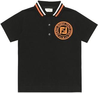 Fendi Kids Logo cotton polo shirt