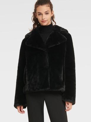 DKNY Women's Short Faux Fur Coat - Black - Size XL