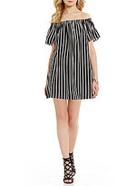 French Connection Polly Plains Off-the-Shoulder Stripe Dress