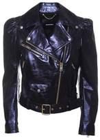 Diesel Women's Blue Leather Outerwear Jacket.
