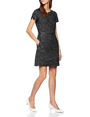 Karen Millen Women's Tweed & Leather Dress A-Line Plain Short Sleeve Dress,(Manufacturer Size:UK )