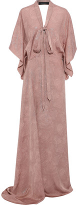 Roland Mouret Duval Pussy-bow Silk-blend Lame Gown