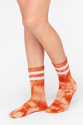 Nasty Gal Womens Stripe Back Atcha Ribbed Tie Dye Socks - Orange