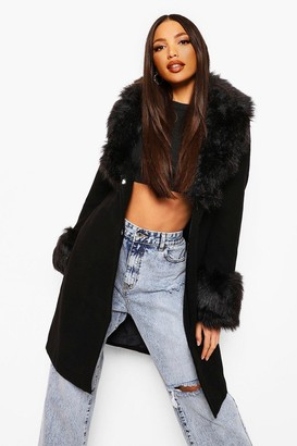 boohoo Tall Faux Fur Collar And Cuff Coat