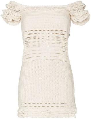 She Made Me Saachi ruffled crochet mini dress