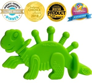 Bambeado Dibly the Dino-Sore-No-More Baby Teether Toy and Training Toothbrush