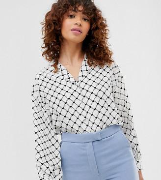 Monki heart chain print v-neck blouse in off white