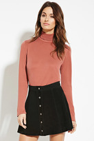 Forever 21 FOREVER 21+ Contemporary Buttoned-Turtleneck Top