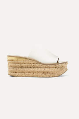 Chloé Camille Leather Wedge Sandals - White
