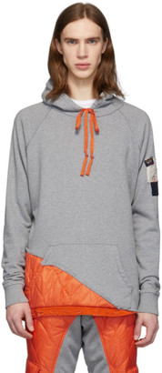 Greg Lauren Grey and Orange Paul and Shark Edition Panelled Hoodie
