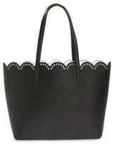 BP Junior Women's Scalloped Faux Leather Tote - Black