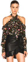 Erdem Aila Convertine Crepe De Chine Blouse in Black,Floral.