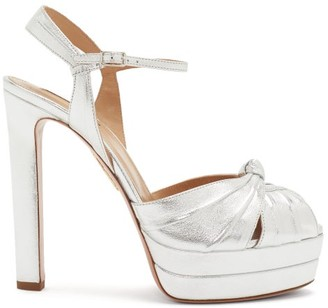Aquazzura Evita Metallic-effect Leather Platform Sandals - Silver