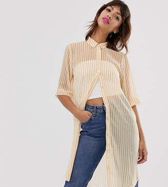 Ichi sheer stripe shirt dress-White