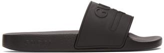 Gucci Black Rubber Interlocking G Pool Slides