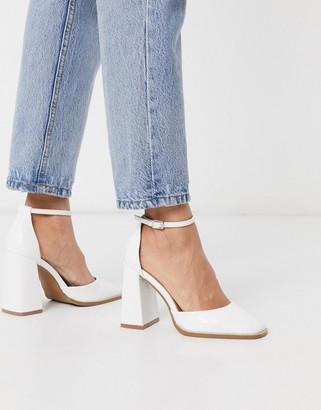 ASOS DESIGN Perri square toe high heels in off white croc