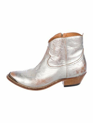 Golden Goose Leather Distressed Accents Western Boots Metallic