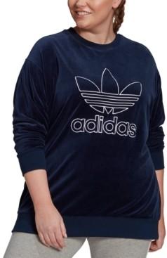 adidas Plus Size Velour Trefoil Crew Sweatshirt