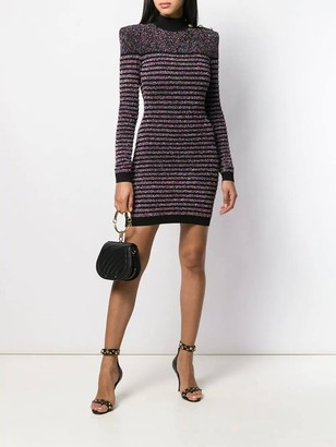Balmain Glitter Long Sleeve High Neck Mini Dress