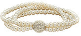 Cezanne 3-Row Faux-Pearl & Fireball Stretch Bracelet