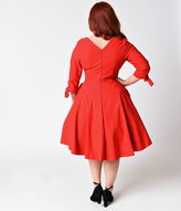 Unique Vintage Plus Size 1950s Style Red & Black Pin Dot Sleeved Diana Swing Dress