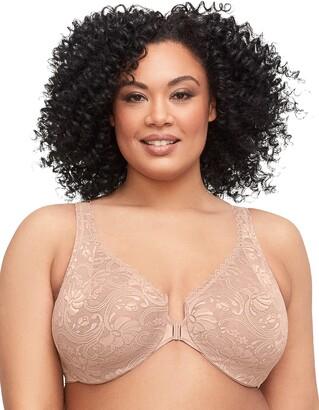 Glamorise Women's Full Figure Wonderwire Front Close Stretch Lace Bra #9245 White