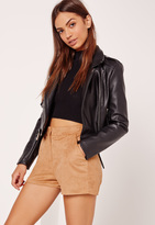 Missguided Faux Suede Tailored Shorts Tan