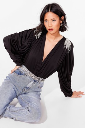 Nasty Gal Womens Shine is On Our Side Plunging Diamante Blouse - Black - S/M