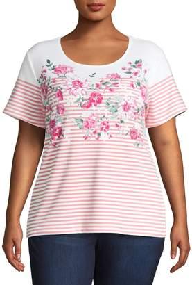 Karen Scott Plus Floral Stripe Cotton Blend Top