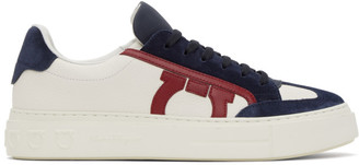 Salvatore Ferragamo White and Blue Giancini Sneakers