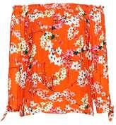 Wallis Petite Orange Blossom Bardot Top