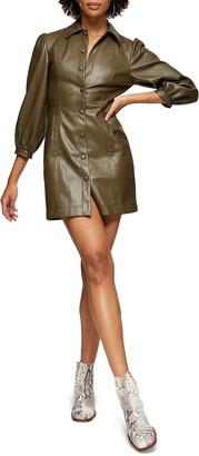 Topshop Faux Leather Shirt Dress