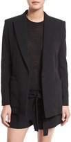 Helmut Lang Double-Weave Cotton Single-Button Blazer, Black