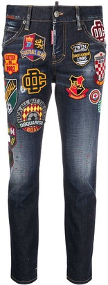 DSQUARED2 Logo Patch Slim-Fit Jeans