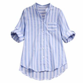Toamen Women Womens Shirts Sale Toamen V Neck Striped Long Sleeve Button Down Casual Loose Cotton Linen Tunic Tops Blouse (Blue 20)