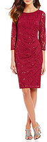 Marina Sequined Lace Sheath Dress