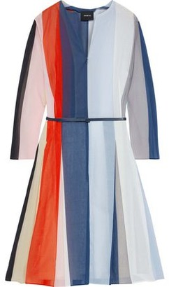 Akris Belted Color-block Cotton-voile Dress