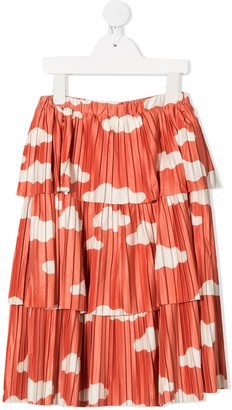 Bobo Choses Tiered Clouds Print Skirt